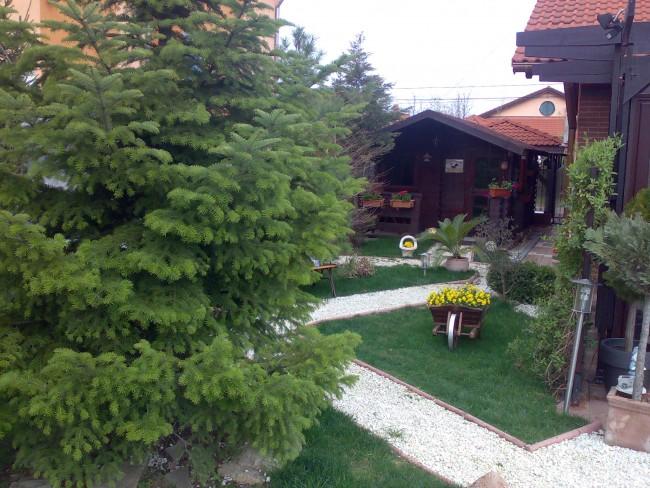 Amenajari gradini rezidentiale private cu flori de gradina, arbori si arbusti ornamentali, elemente de decor si gazon.