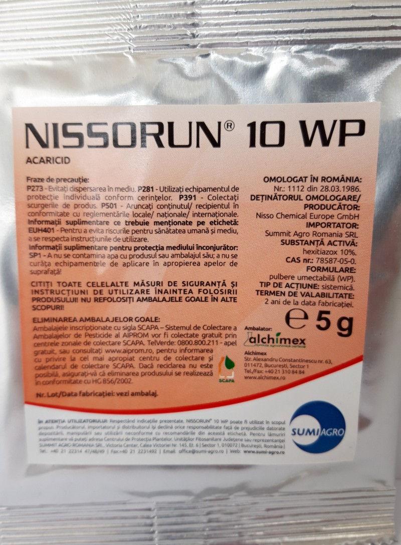 Insecticid-acaricid NISSORUN 10 WP, 5 g. Poza 12398