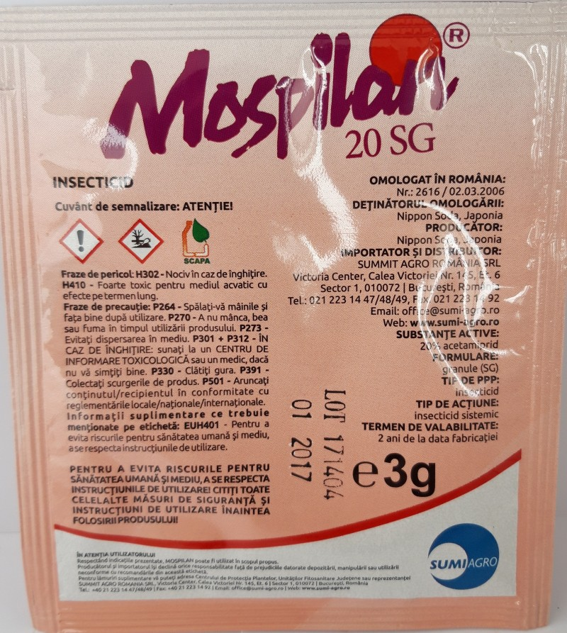 Insecticid MOSPILAN 20 SP, 3 g. Poza 12423