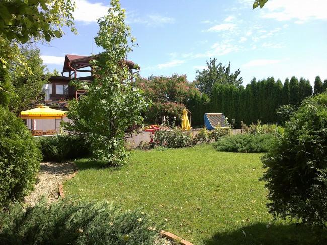 Amenajare gradina rezidentiala medie cu plante de gradina: arbori, arbusti, trandafiri si flori
