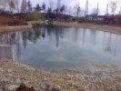 Lac artificial de gradina cu dimensiuni foarte mari si cadere de apa, cascada de inaltime mare